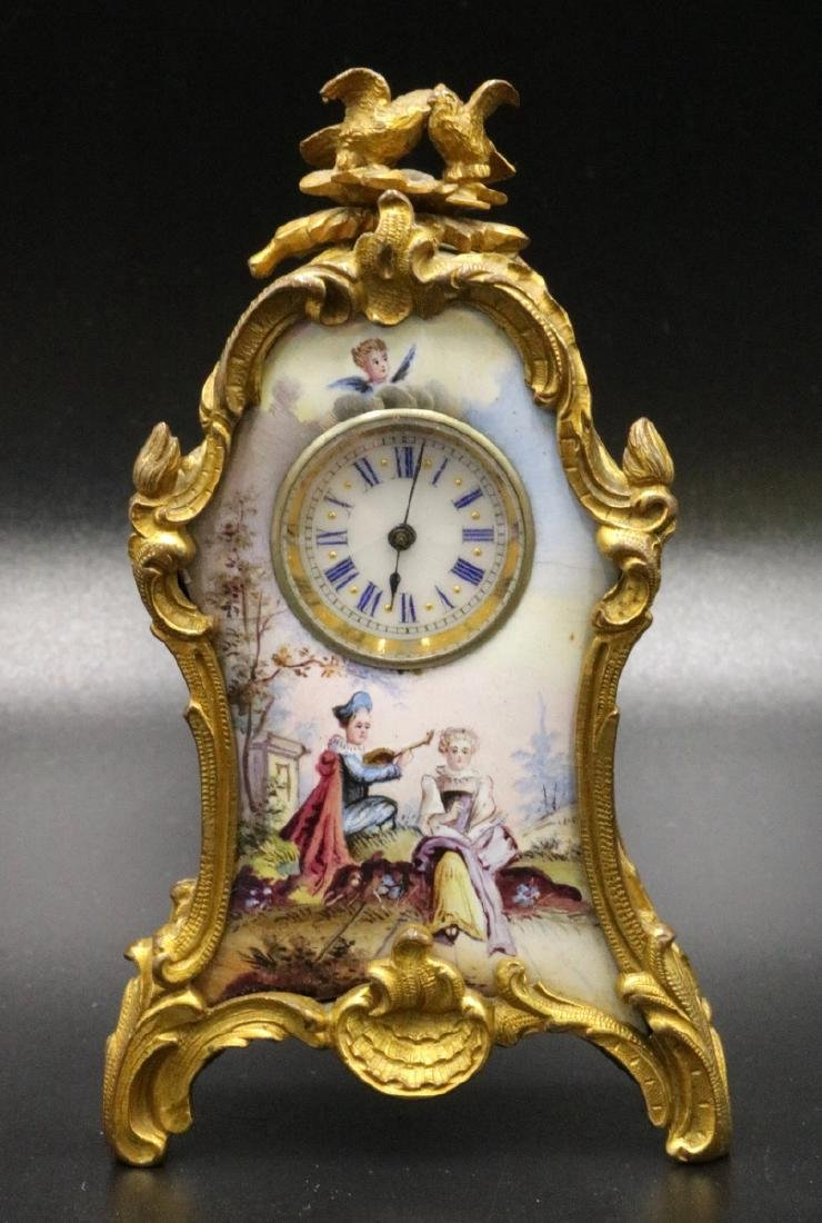 Antique French Dore Bronze & Hand Painted Enamel
