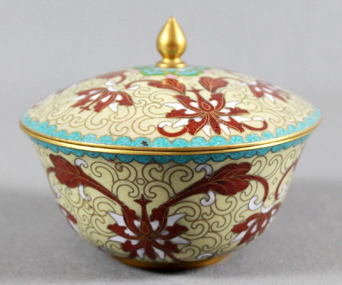 CLOISONNE BOWL WITH COVER ON WOODEN BASE