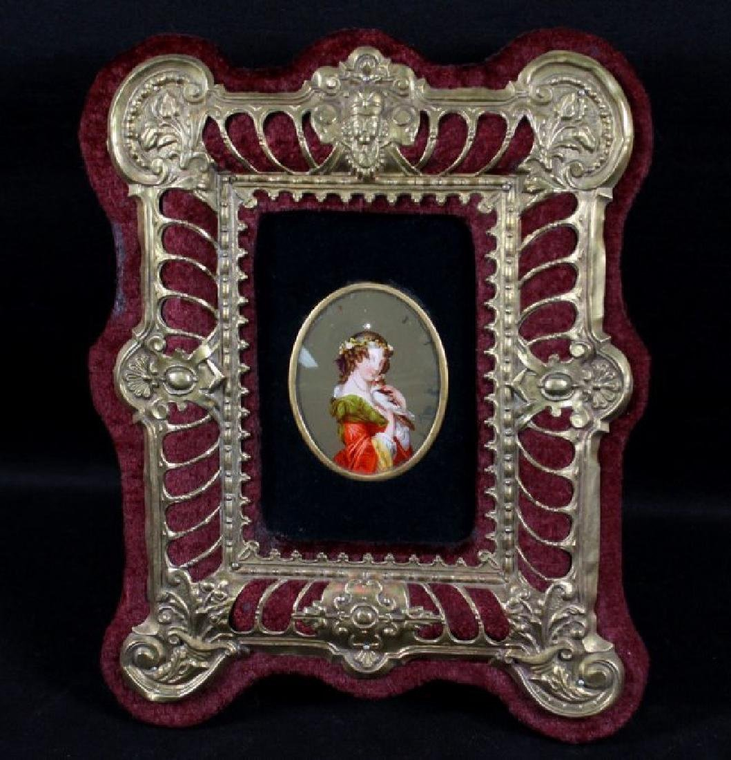 GERMAN PORCELAIN PLAQUE IN GILT FRAME