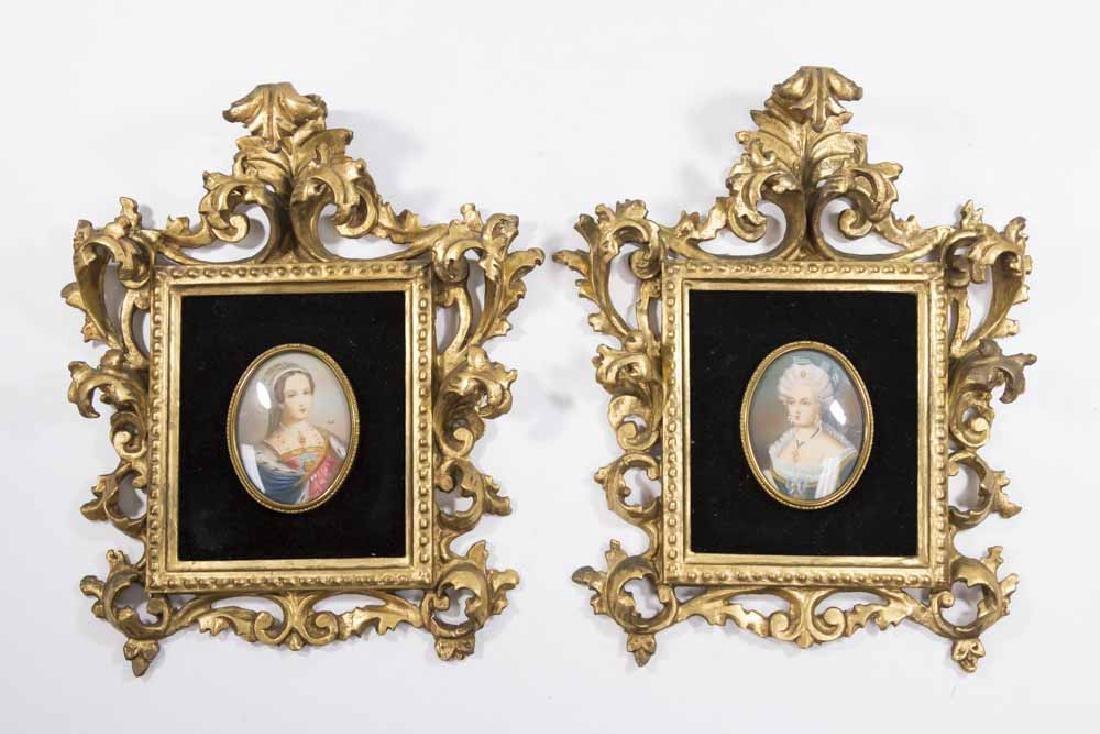 Pair Italian Rococo Portrait Miniatures