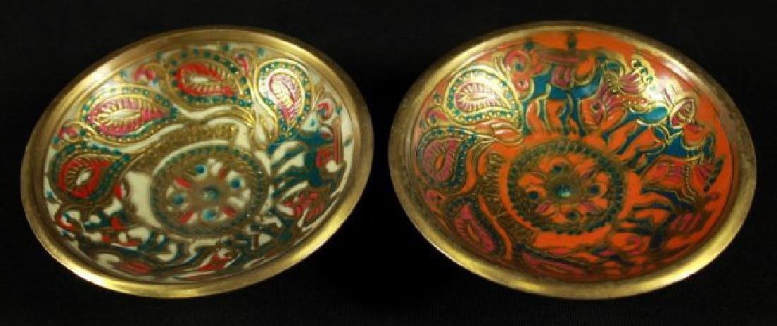 PAIR OF JERUSALEM BRONZE AND ENAMEL BOWLS