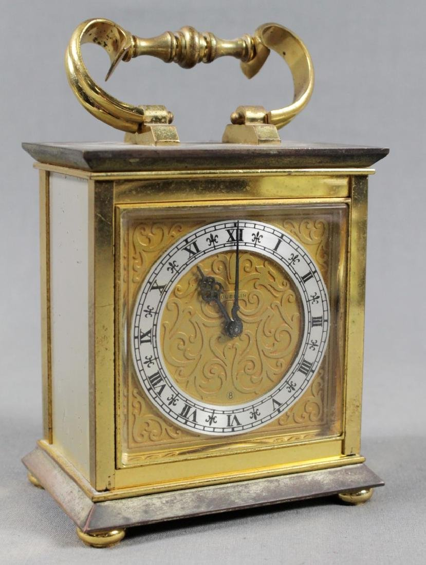 BRASS INLAID CARRIAGE CLOCK
