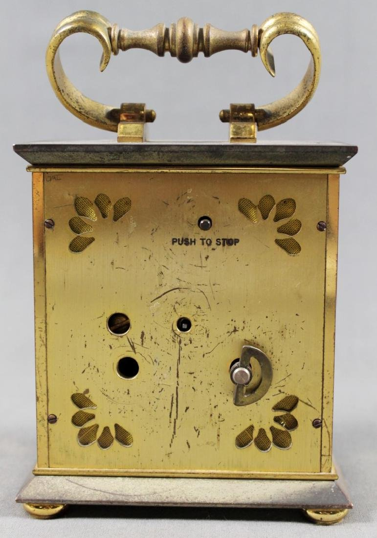BRASS INLAID CARRIAGE CLOCK - 3