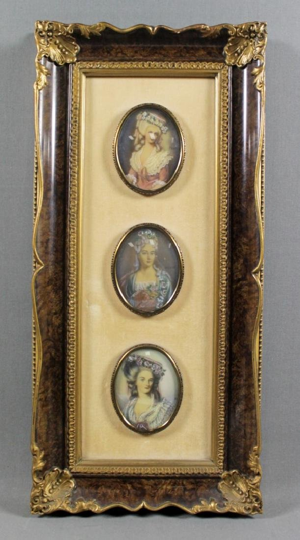3 MINIATURE PLAQUES FRAMED