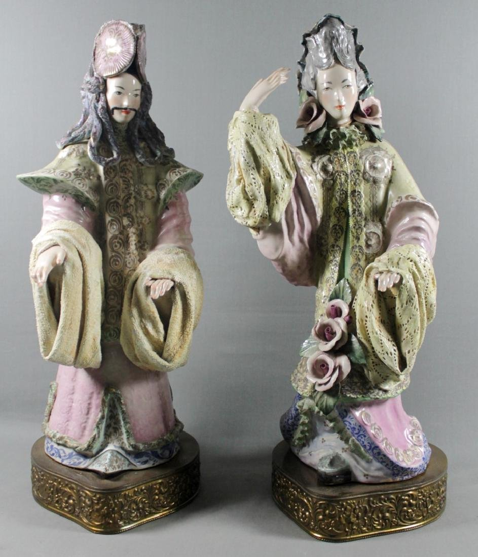 """PAIR OF LARGE 27"""" CHINESE PORCELAIN FIGURES"""