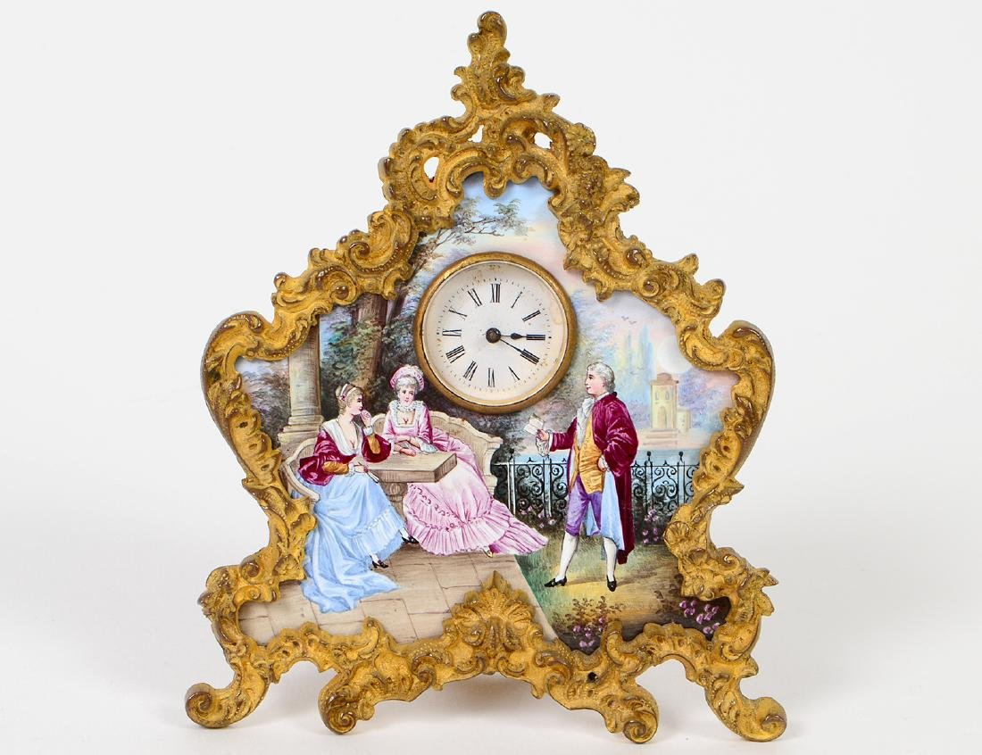 LATE 19TH C. GILT BRONZE AND VIENNA ENAMEL CLOCK
