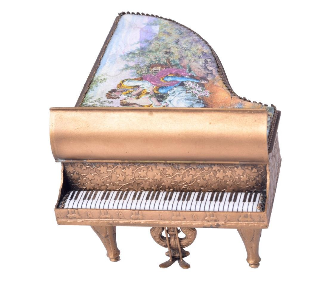 MINIATURE AUSTRIAN BRONZE AND ENAMEL PIANO