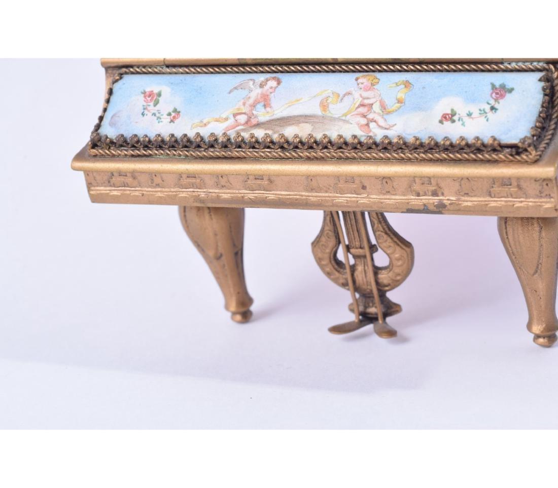 MINIATURE AUSTRIAN BRONZE AND ENAMEL PIANO - 8