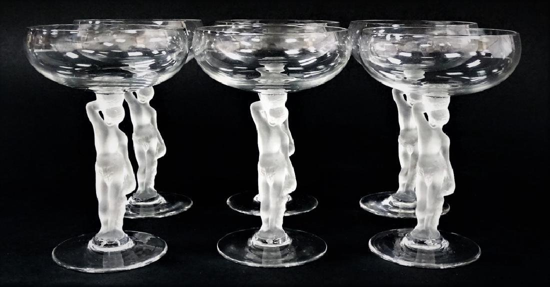 6 BAYEL BACCHANTE NUDE CRYSTAL CHAMPAGNE GLASSES