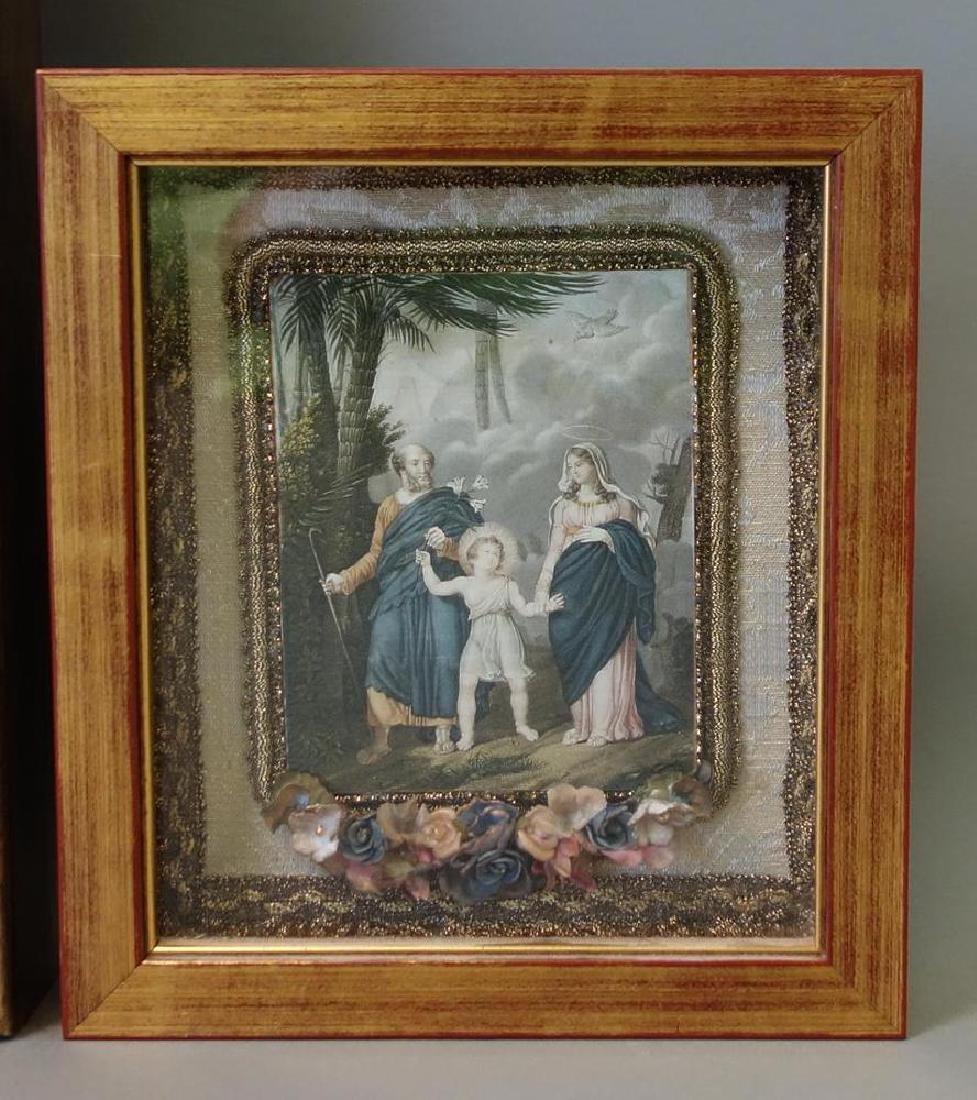 Framed print depicting a print of Jesus walking in a