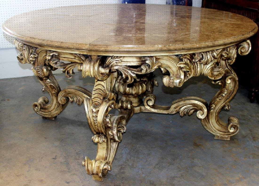 Italian Louis XV Style Marble Inset Table