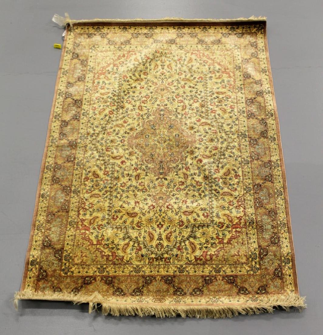 QUM SILK GOLD ROSE RUG IRAN