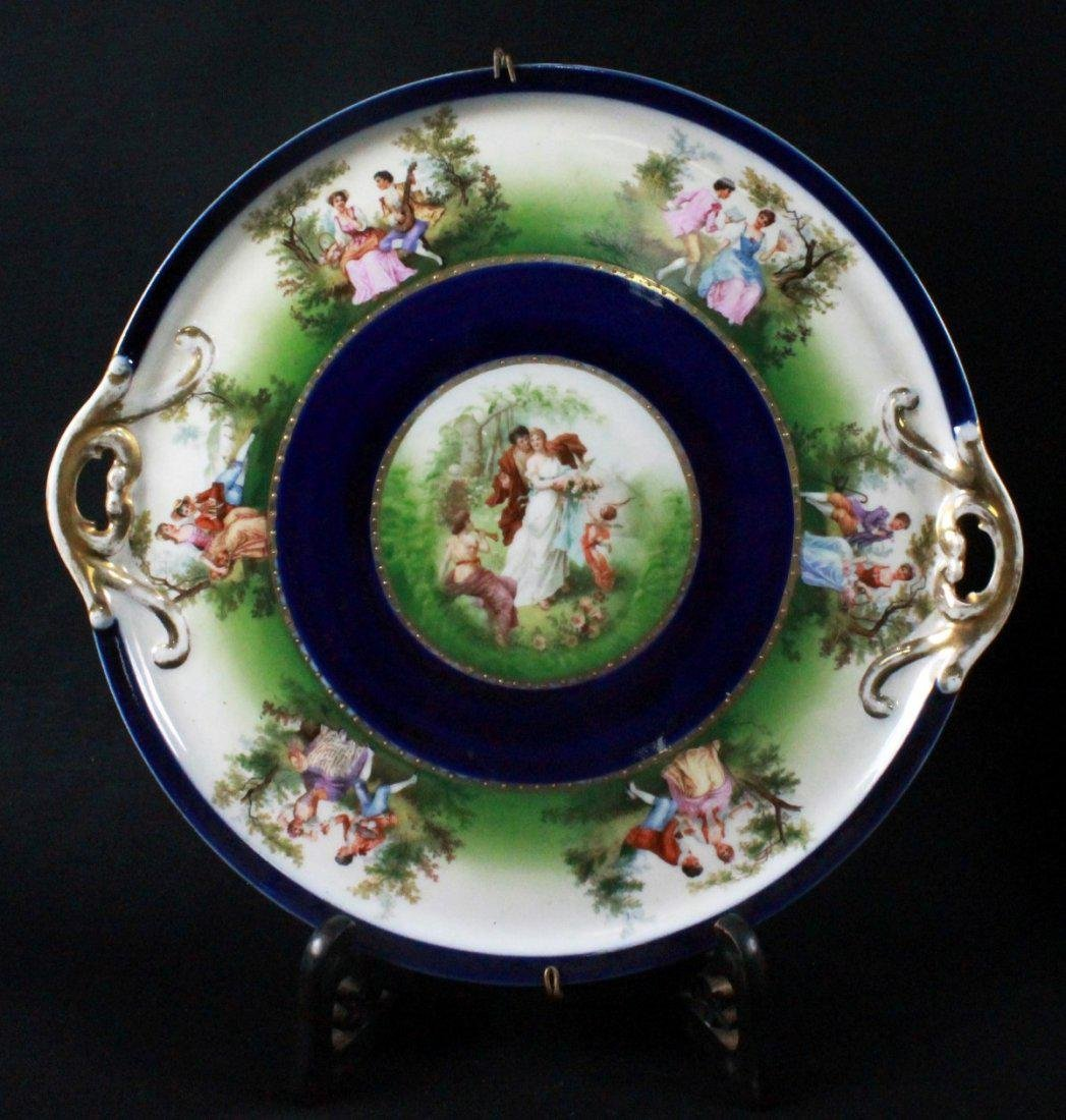 ROYAL VIENNA CHARGER DEPICTING COUPLES COURTING