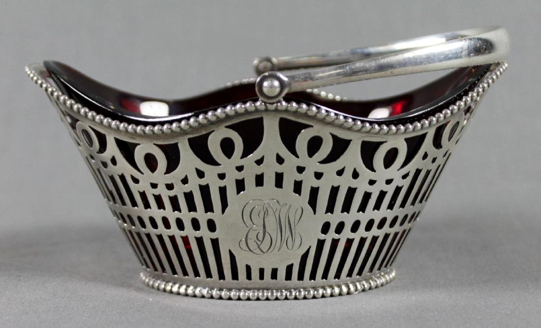 SMALL STERLNG SILVER BASKET WITH WITH LINER