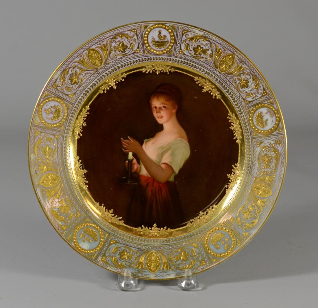 """LATE 19TH C. ROYAL VIENNA PORCELAIN CABINET PLATE """"GUTE"""