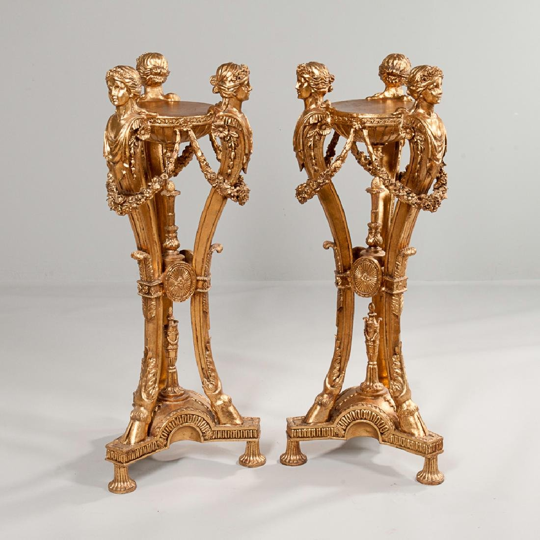 Pair of Neoclassical-style Giltwood Plant Stands
