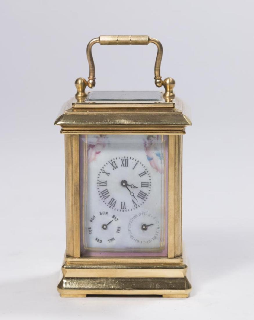 Porcelain Mounted Brass Miniature Carriage Clock