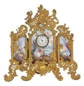 VIENNA VIENNESE ENAMEL ORMOLU GILT BRONZE 3 PANEL CLOCK