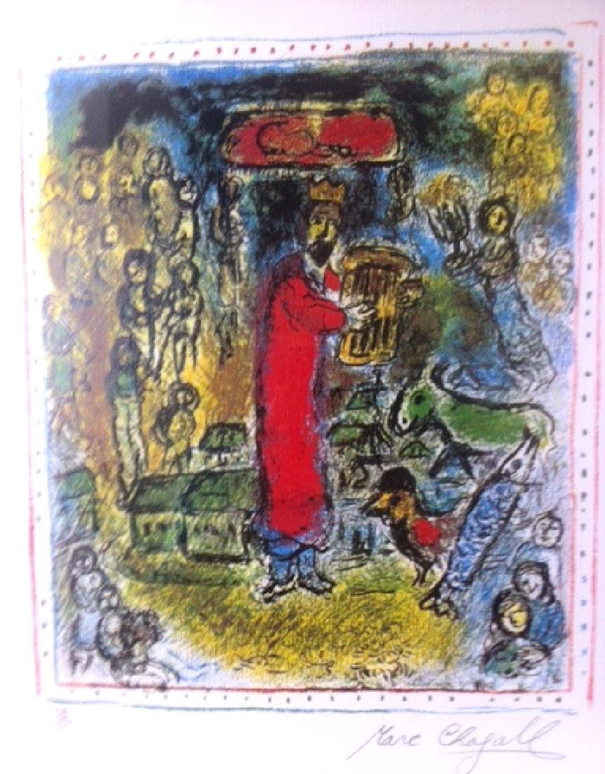 A Signed Chagall Litho Titled King Davis at the Village