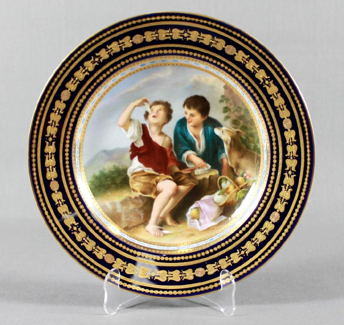 "ROYAL VIENNA HAND PAINTED CABINET PLATE, "" THE MELON"