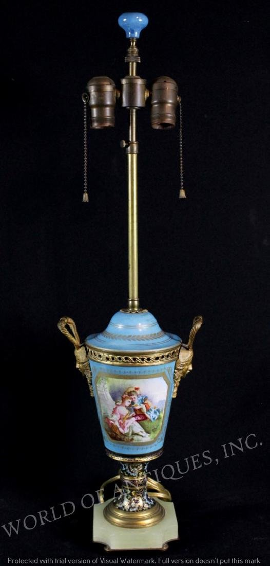 EARLY 19TH C. SEVRES AND FRENCH CHAMPLEVE LAMP