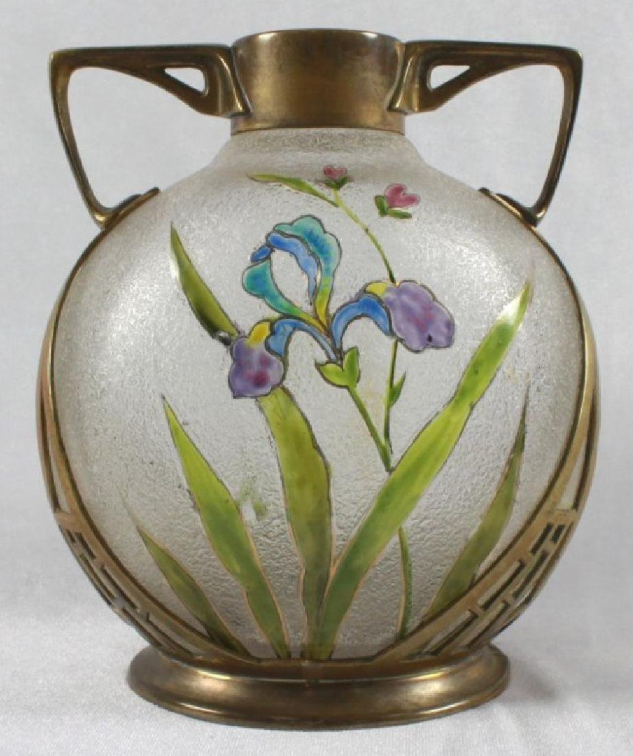 GERMAN ART NOUVEAU CAST BRASS MOUNTED ART GLASS VASE