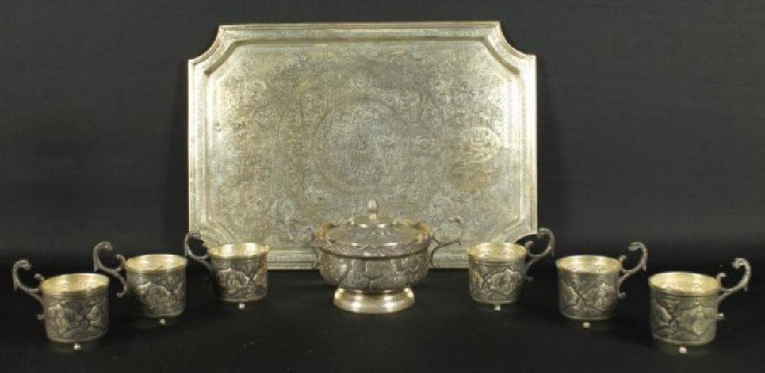 ANTIQUE PERSIAN STERLING SILVER TEA SET REZVANI SIGNED