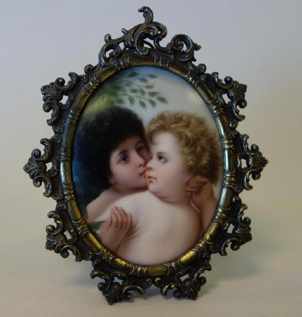 Miniature Painted Porcelain Plaque of Putti