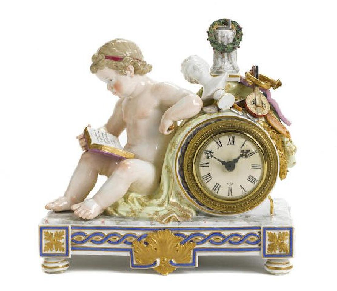 A MEISSEN PORCELAIN FIGURAL MANTEL CLOCK EMBLEMATIC OF