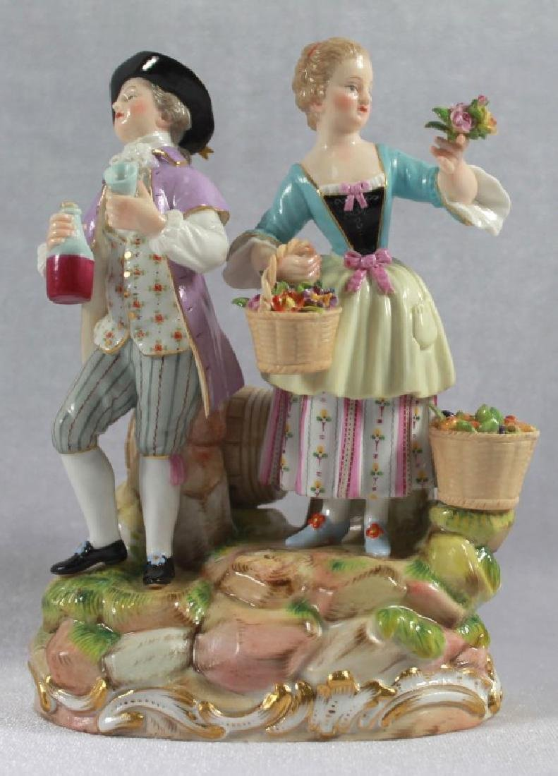 LATE 19TH C MEISSEN SAXONY GROUP OF MAN AND WOMAN