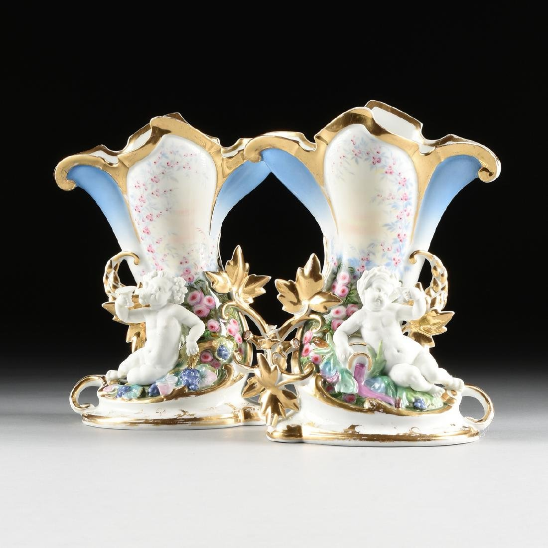A PAIR OF OLD PARIS POLYCHROME ENAMEL DECORATED AND