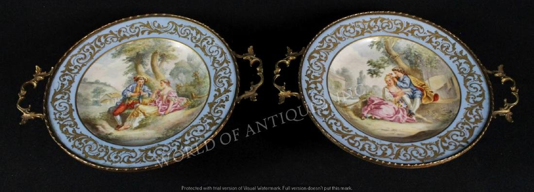 PAIR OF SEVRES STYLE PLATES W/ HANDLES