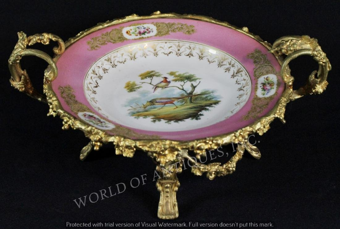 EARLY 19TH C. PINK SEVRES BRONZE MOUNTED PLATE