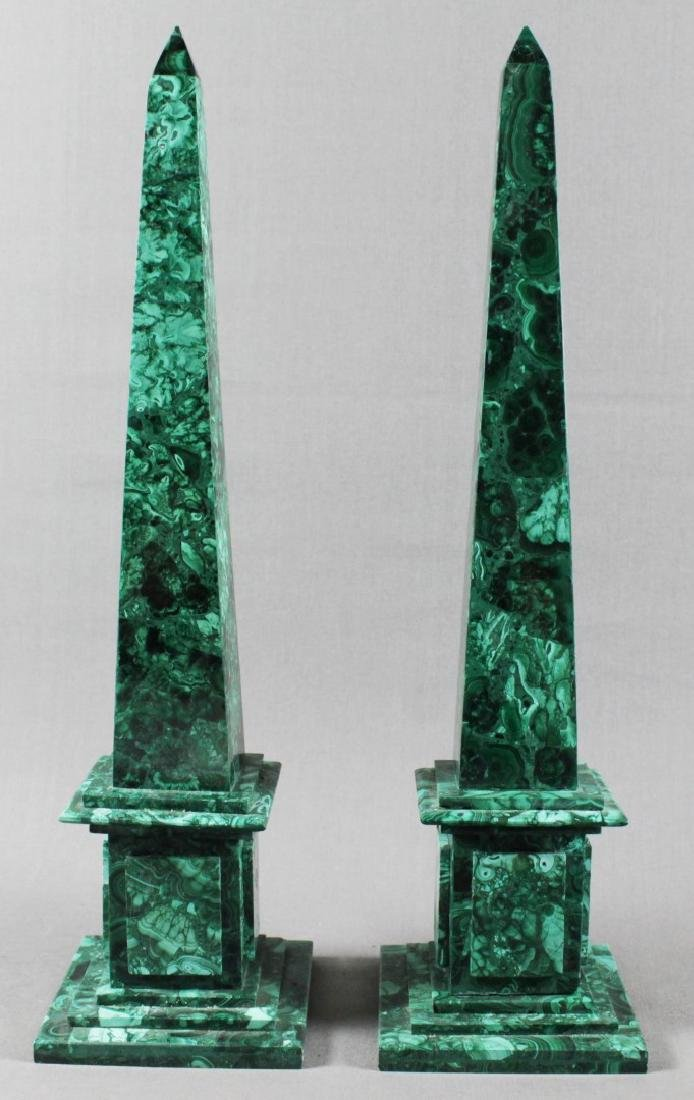 PAIR OF RUSSIAN MALACHITE OBELISKS