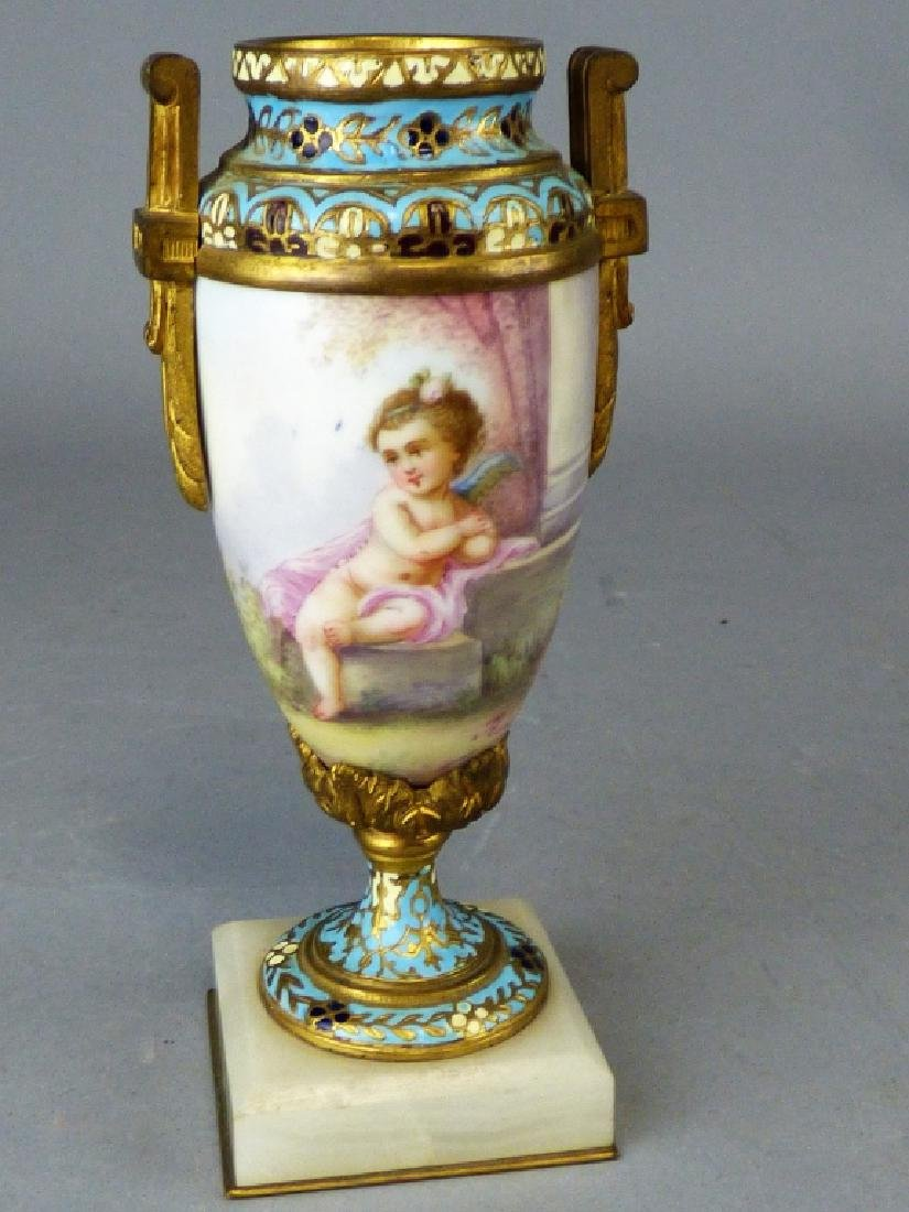 French Porcelain, Gilt-Bronze & Champleve Vase