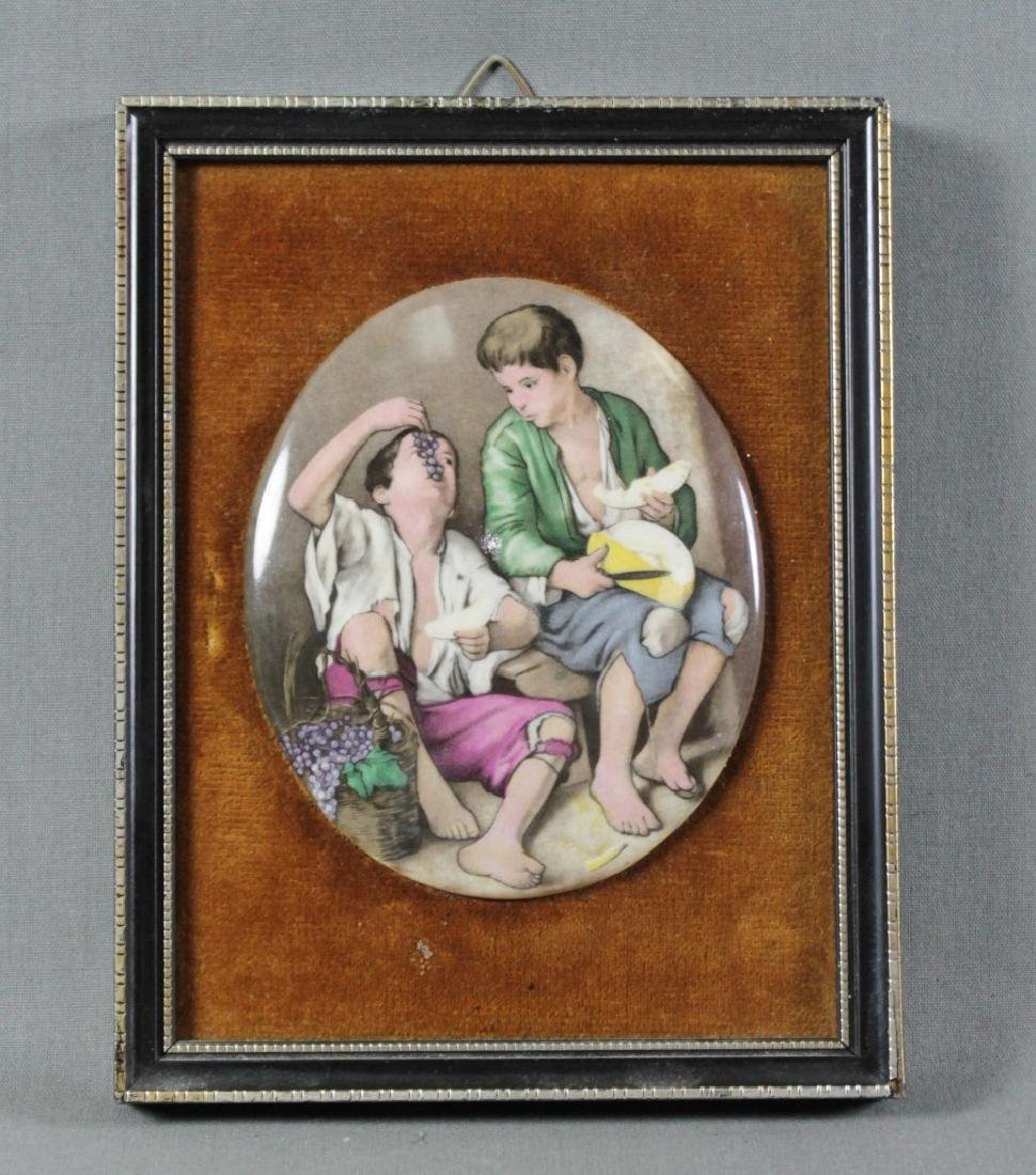 FRAMED PORCELAIN OVAL PLAQUE