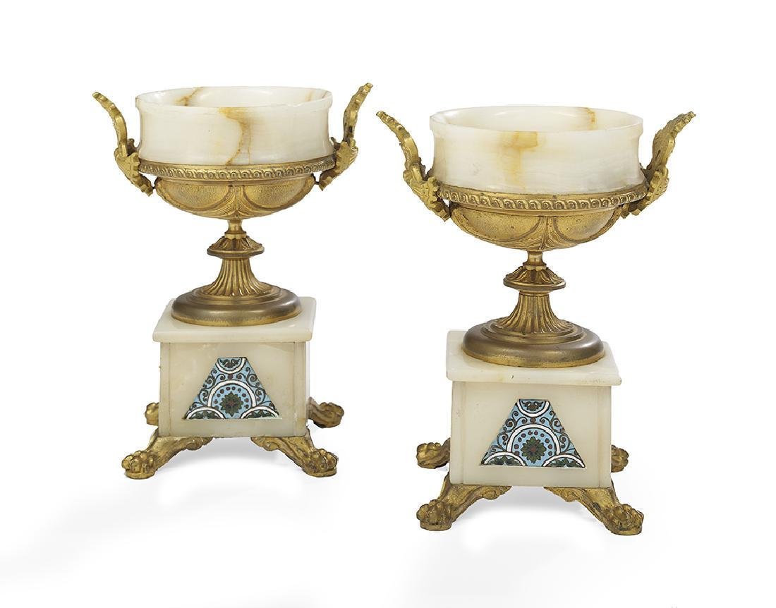 Pair of Alabaster and Enamel Garniture Urns