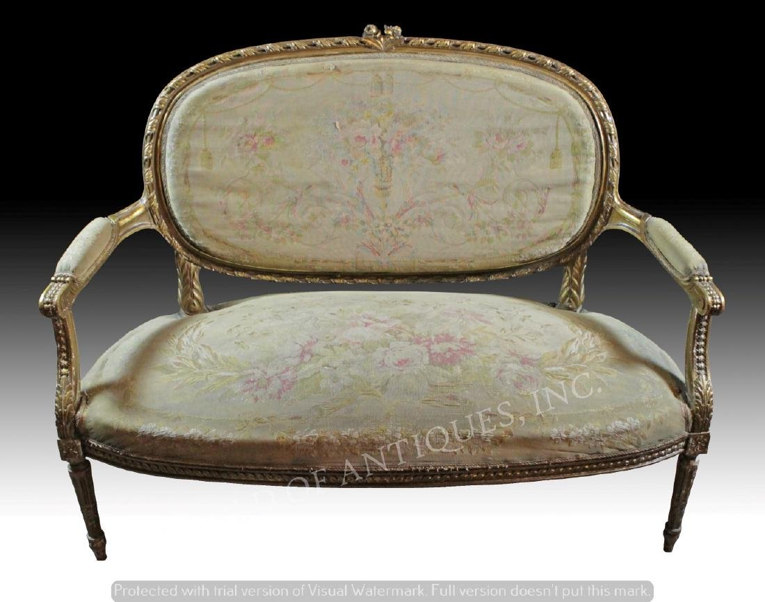 ANTIQUE FRENCH AUBUSSON CARVED WOOD BENCH