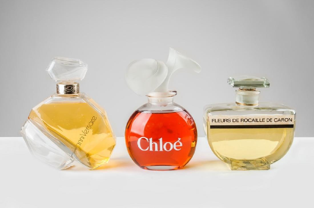 THREE FRENCH PERFUME DISPLAY BOTTLES