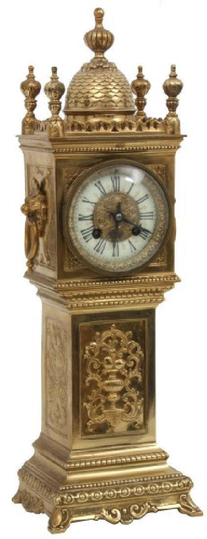 Gilt Bronze Miniature Grandfather Mantle Clock