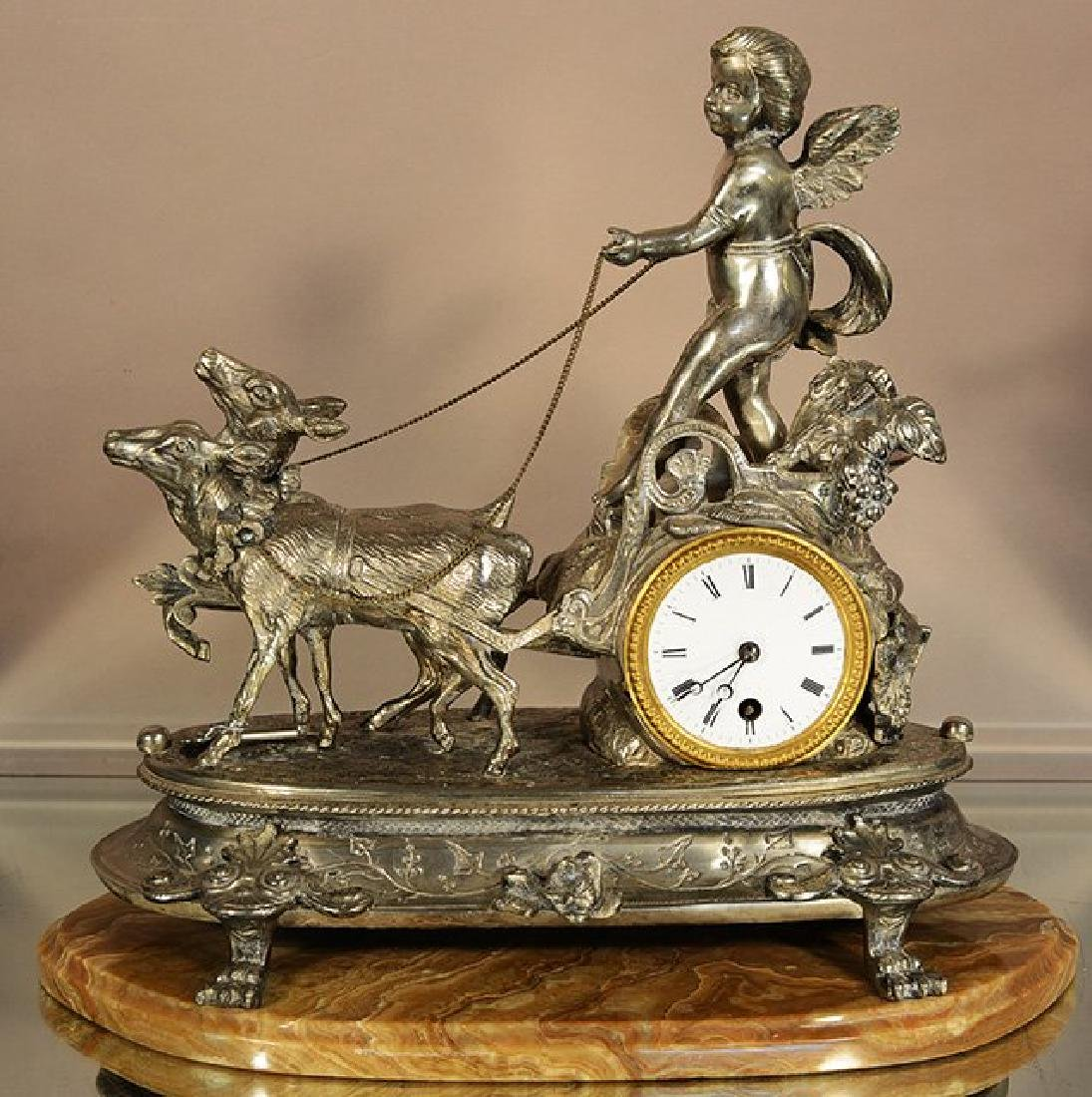 French XIV Style Figural Bronze Mantel Clock