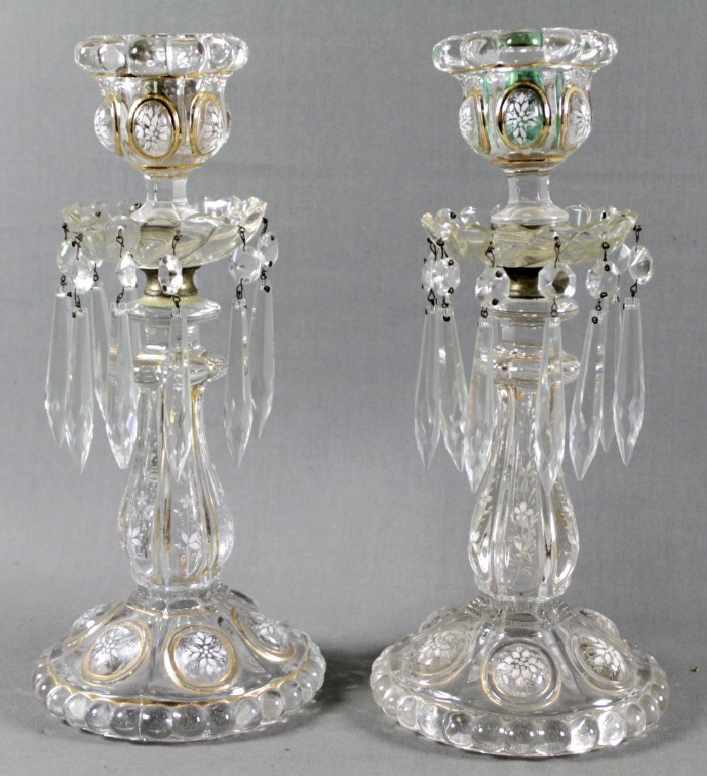 PAIR OF BACCARAT CRYSTAL CANDLE STICKS