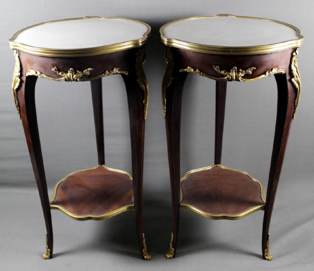 PAIR OF LOUIS XV STYLE BRONZE MOUNTED TABLES WITH