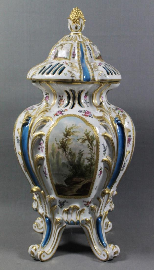 MEISSEN STYLE PROCELAIN OPENWORKED COVERED JAR