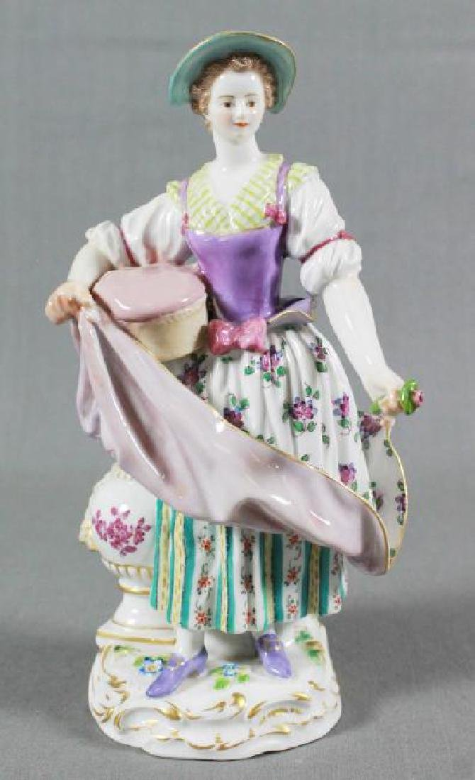 MEISSEN FIGURE OF WOMAN WITH PILLOW