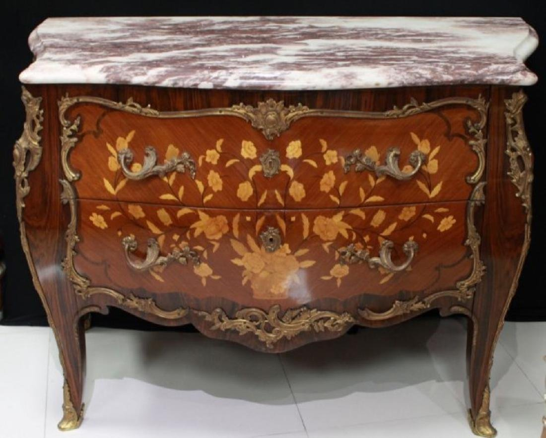 LOUIS XV STYLE GILT-BRONZE MOUNTED COMMODE - 2