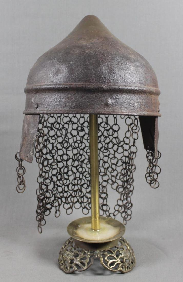 ANTIQUE ISLAMIC INLAID BRONZE GLADIATOR HELMET W/ STAND