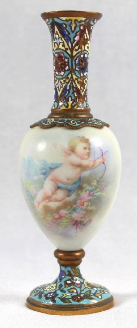 19TH C. CHAMPLEVE CABINET VASE