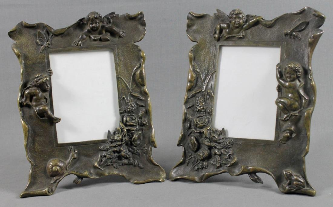 PAIR OF BRONZE FIGURAL FRAMES