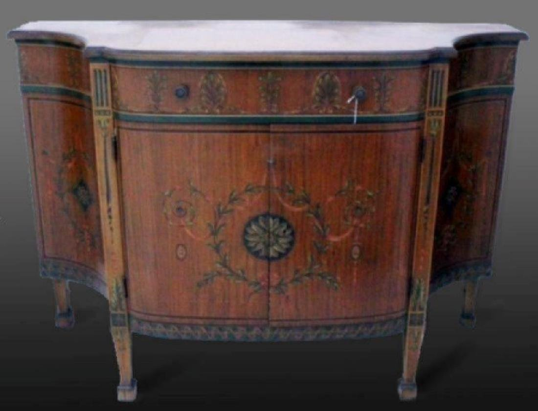 LOUIS XV STYLE POLYCHROME SATINWOOD SIDE CABINET